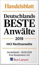 Handelsblatt Auszeichnung Beste Anwälte 2019